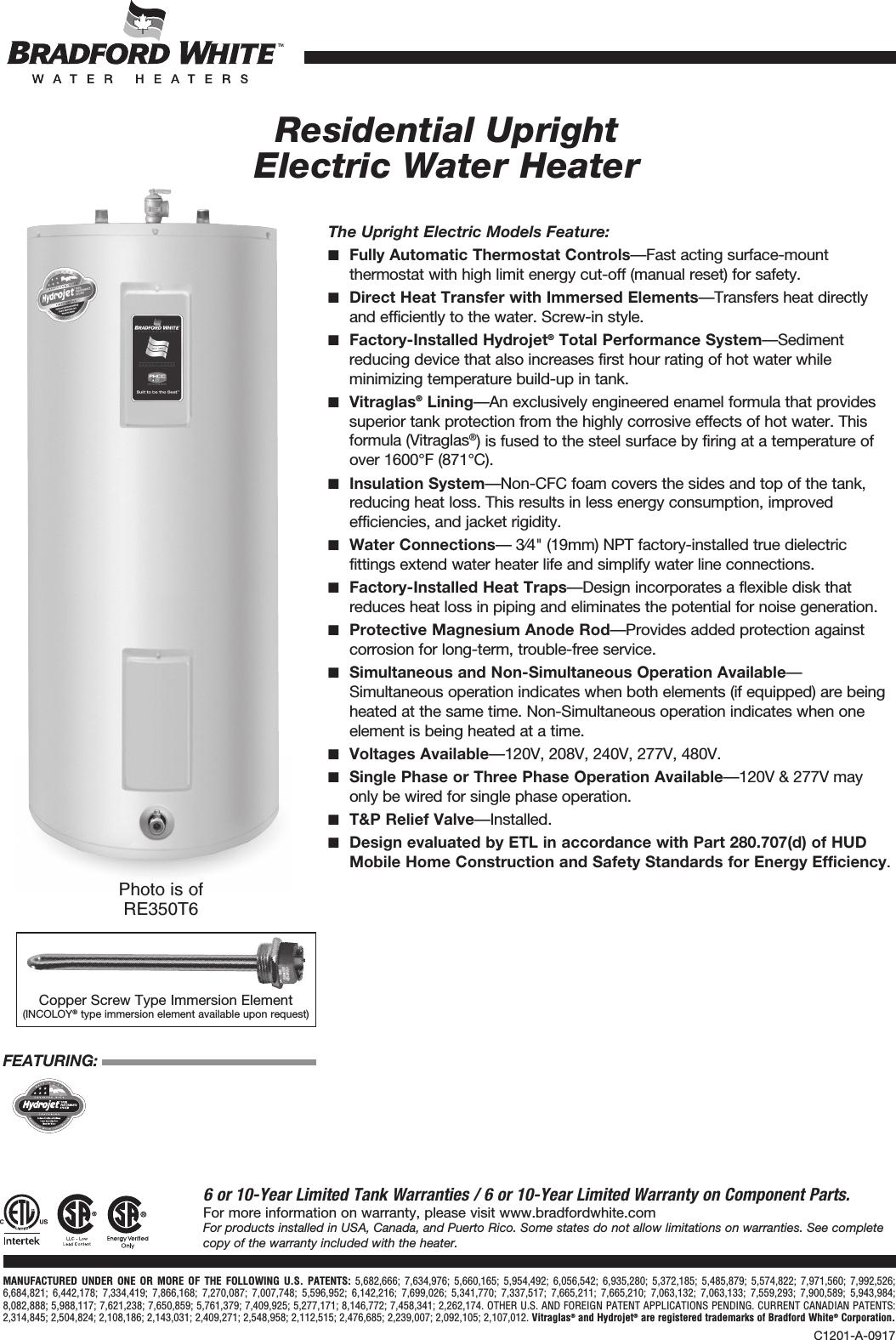 Bradfordwhite Canada Residential Electric Upright Ontario Specsheet ...