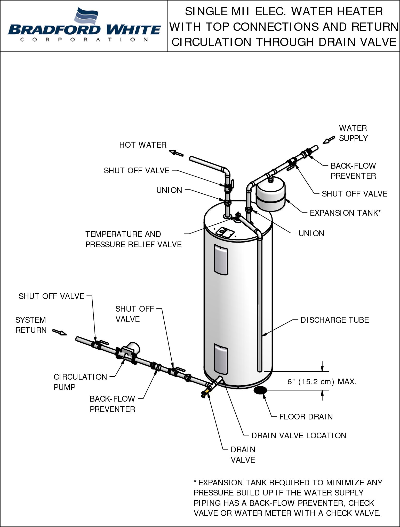 Bradfordwhite Piping Diagram Commercial Electric Single