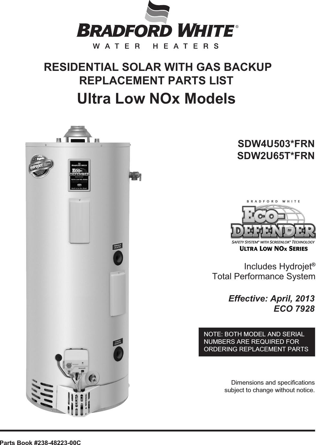 Bradfordwhite Residential Solar Ecostor2 Sc Indirect Single Coil Eco Bradford White Water Heater Wiring Diagram Defender Gas Backup S Dw4 U Partslist 48223 31864 48223c Parts List User Manual
