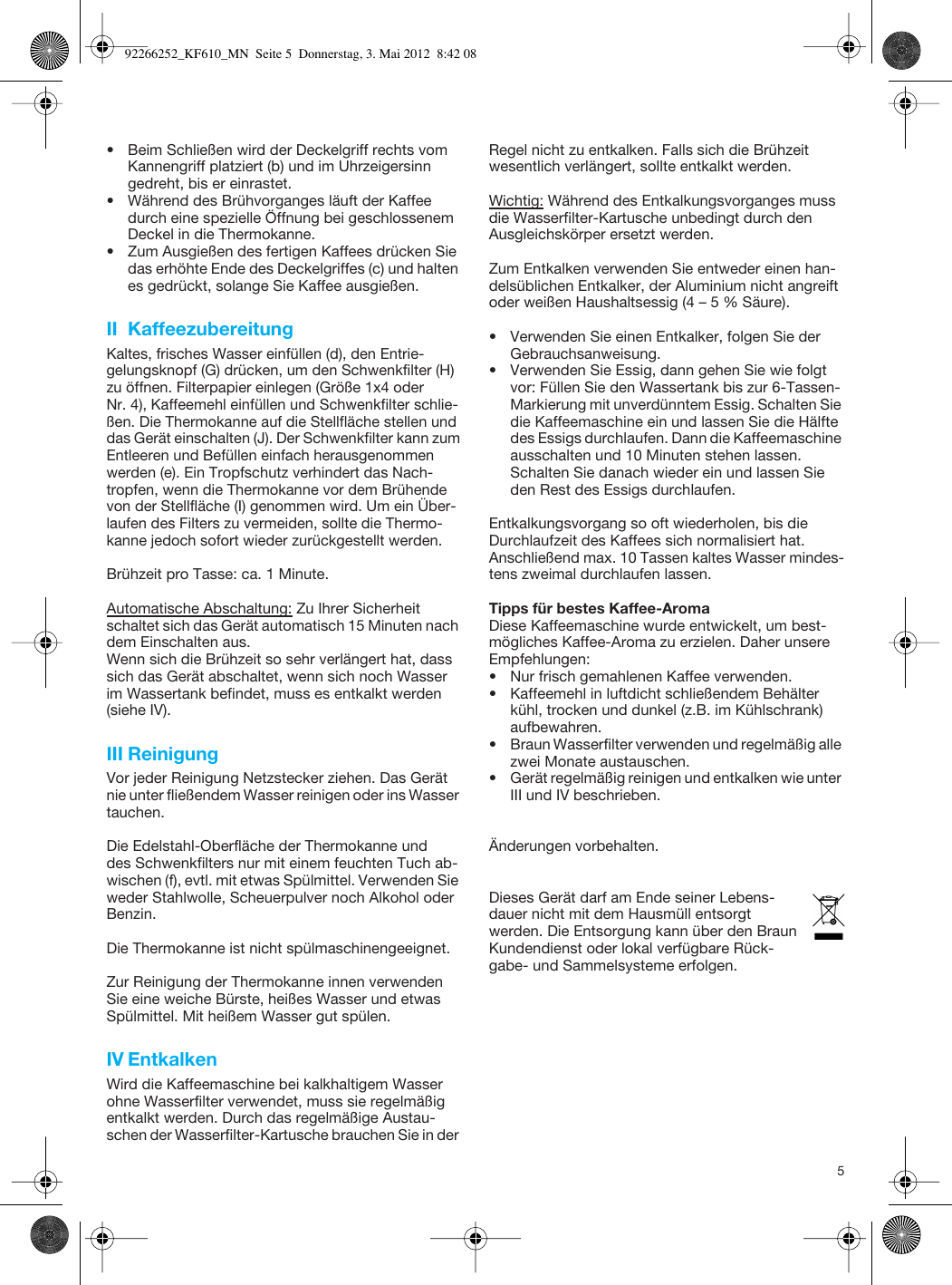 Braun Kf610 Instruction Manual 92266252_KF610_S01