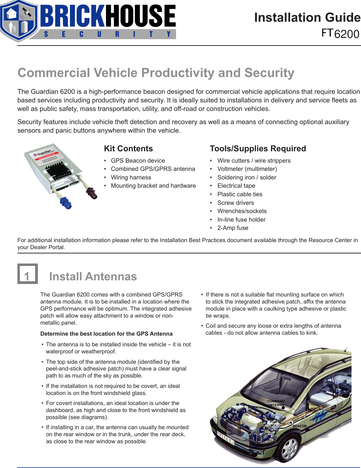 Brickhouse Security Automobile Alarm Ft 6200 Users Manual  GMMS_InstallationGuide_6200