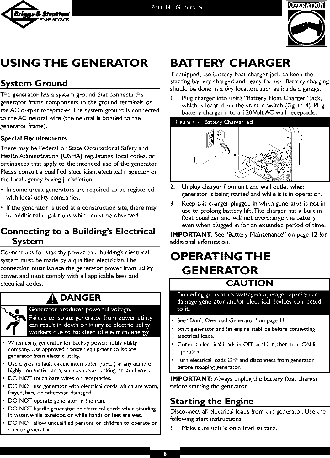 Briggs & Stratton 01653 User Manual GENERATOR Manuals And Guides