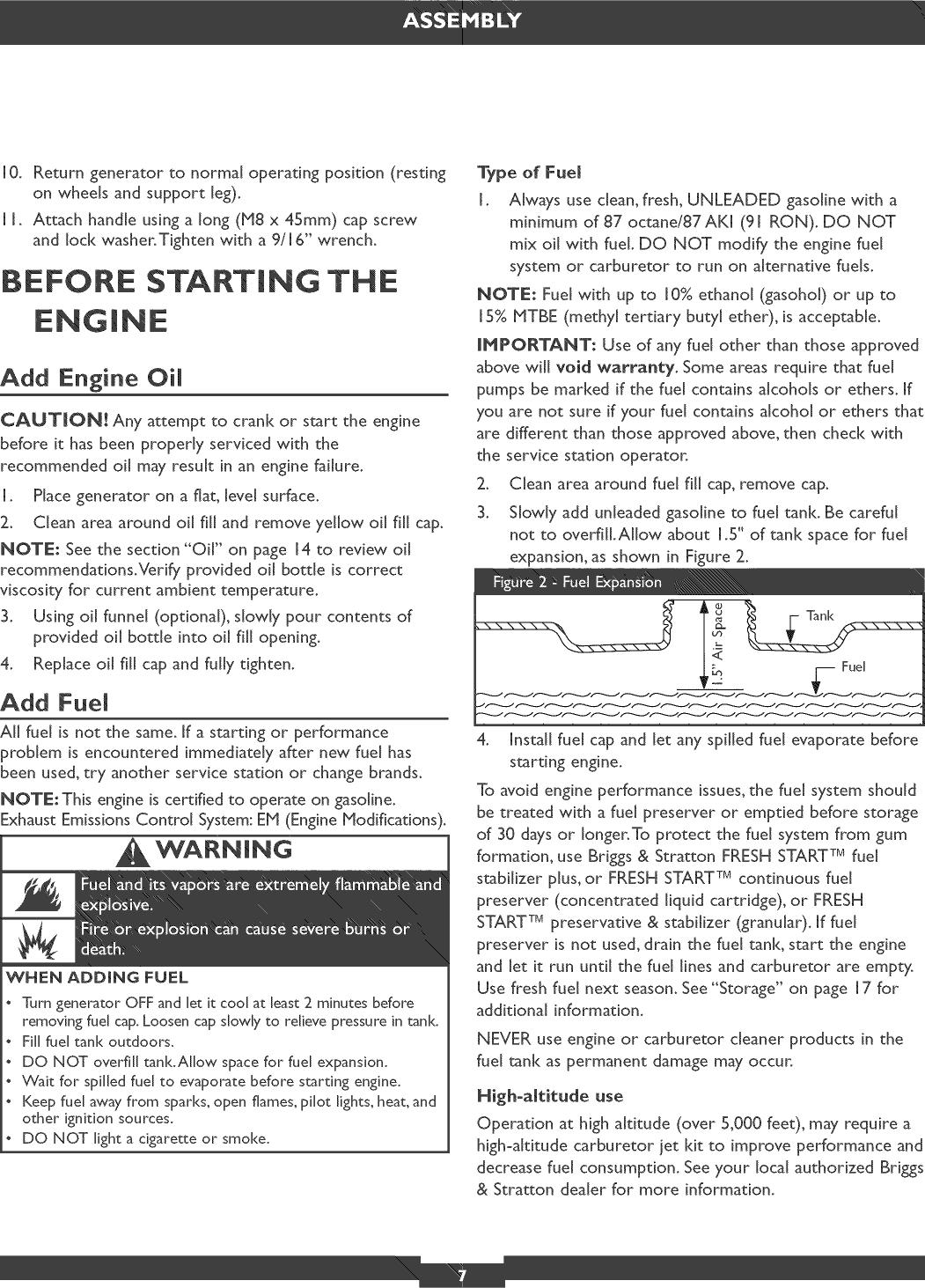 Briggs & Stratton 030319 User Manual PORTABLE GENERATOR