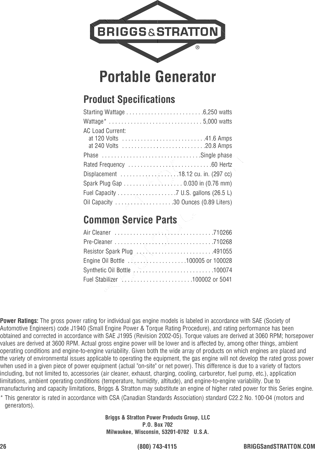 Briggs & Stratton 030422 0 User Manual GENERATOR Manuals And Guides ...