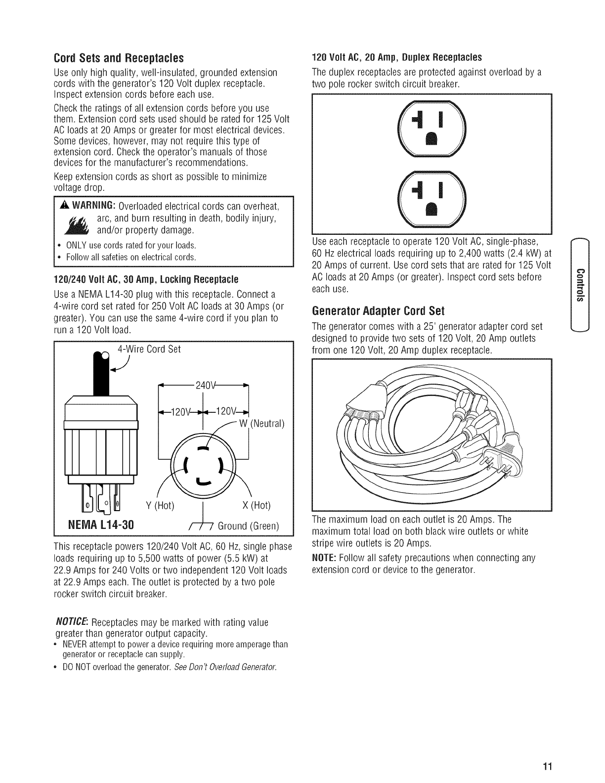 Briggs Stratton 030430 User Manual Generator Manuals And Guides 120 240 Volt Receptacles How To Install A Switch Or Receptacle Cordsets Andreceptacles