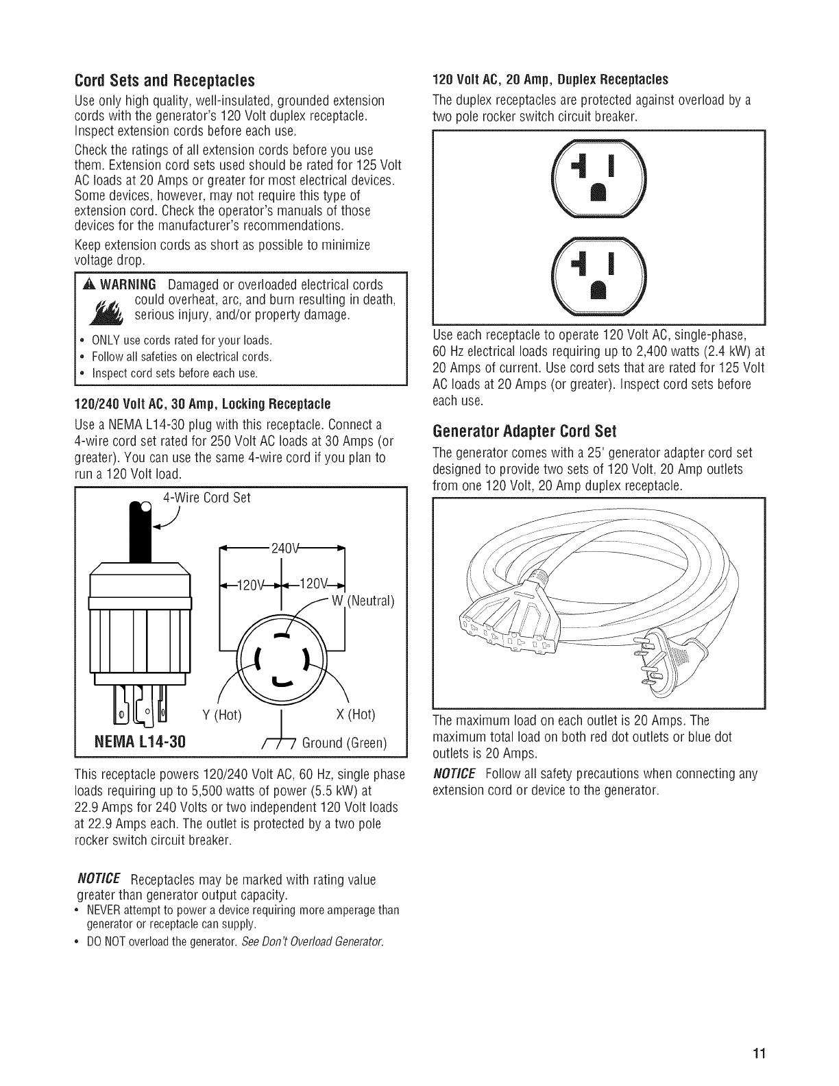 Briggs Stratton 030430b 01 User Manual Generator Manuals And 240 Volt 20 Amp Wiring Diagram Cordsets Andreceptacles