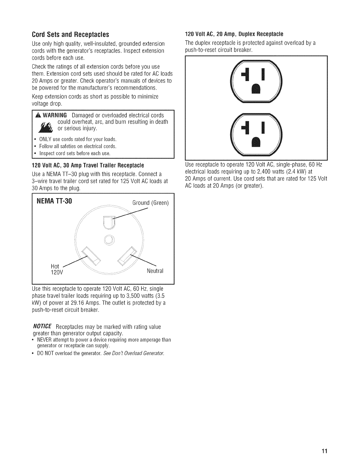 Briggs Stratton 030547 00 User Manual Generator Manuals And Guides Nema Tt 30r Wiring Diagram Cordsets Andreceptacles
