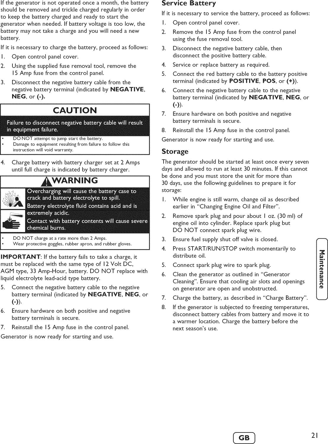 Briggs & Stratton 040248 User Manual BACKUP GENERATOR
