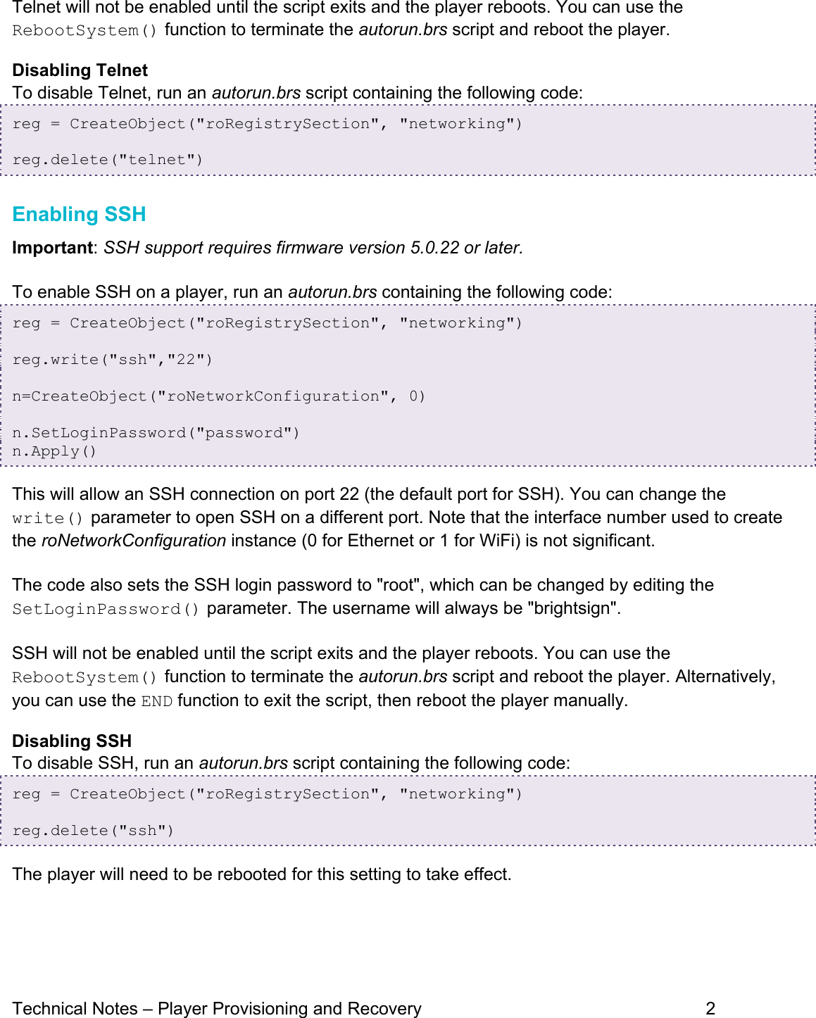 Enabling Telnet And SSH