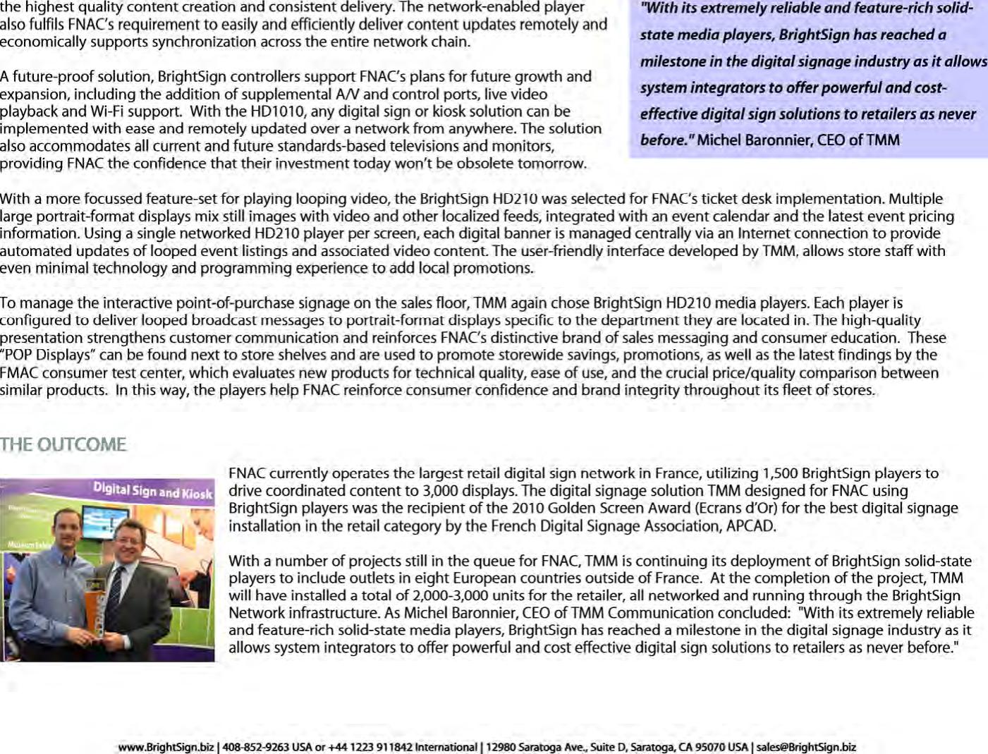 FNAC BrightSign Case Study TMM