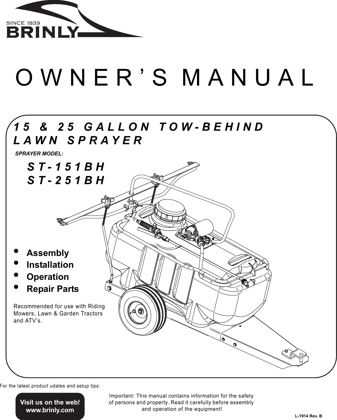 Brinly Hardy 15 And 25 Gallon Tow Behind Lawn Sprayer St