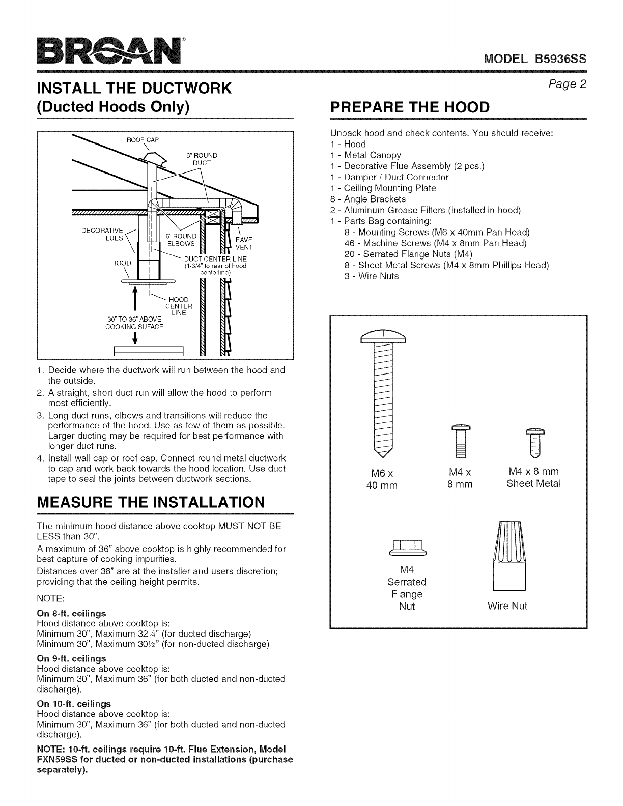 Broan B5936SS User Manual RANGE HOOD Manuals And Guides 1508073L