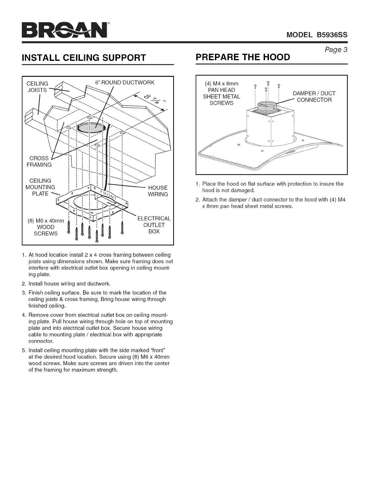 Broan B5936SS User Manual RANGE HOOD Manuals And Guides 1508073LUserManual.wiki