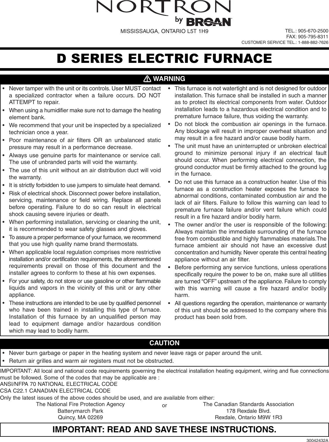 Norton Electric Furnace Wiring Diagram