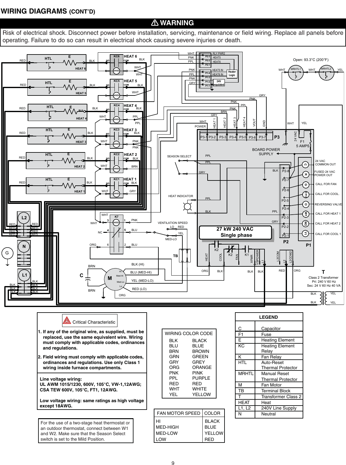 broan furnace 30042432a users manual d series nortron electric  broan electric furnace wiring diagram #14