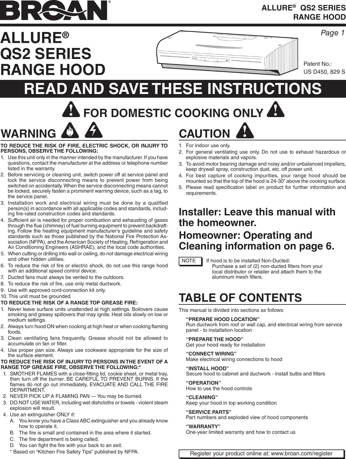 Broan QS236BL User Manual To The 3c0327e0 36a7 4a33 8dba 9dbb952a18b3