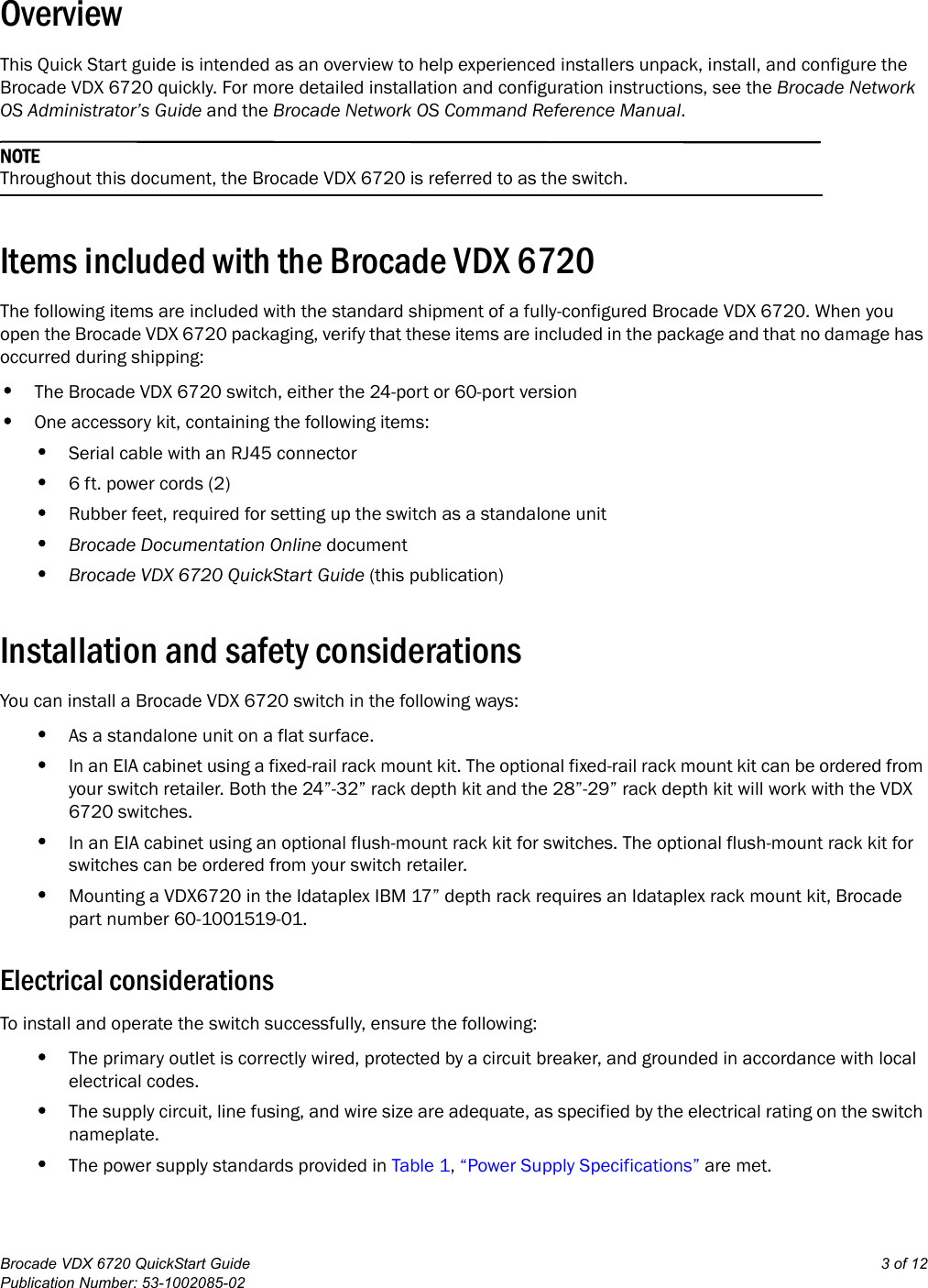 brocade communications systems vdx 6720 users manual quickstartpage 3 of 12 brocade communications systems brocade communications systems