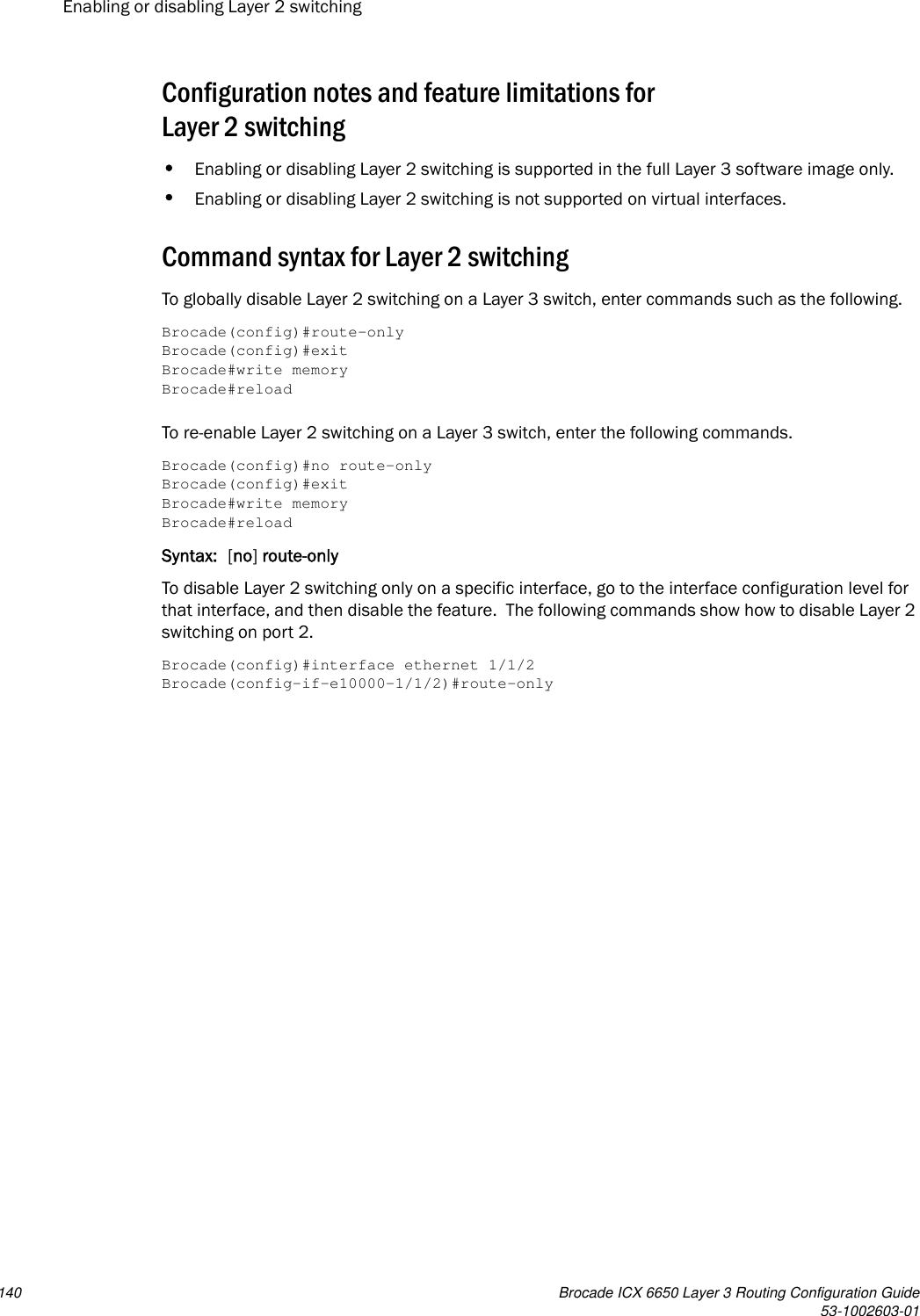 Brocade Communications Systems Layer 3 Routing Configuration