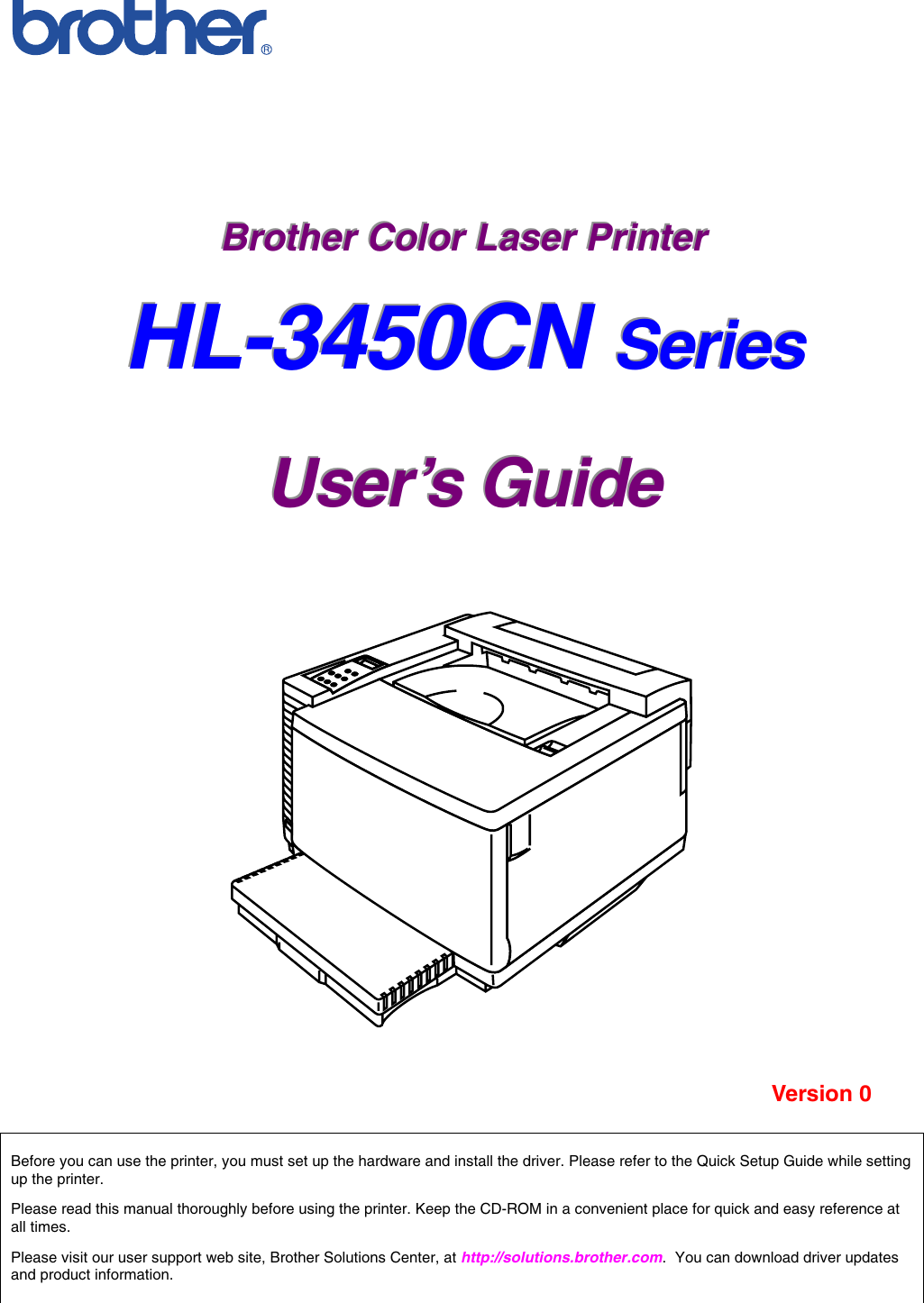 Brother Hl 3450Cn Owner S Manual 3450 User's Guide