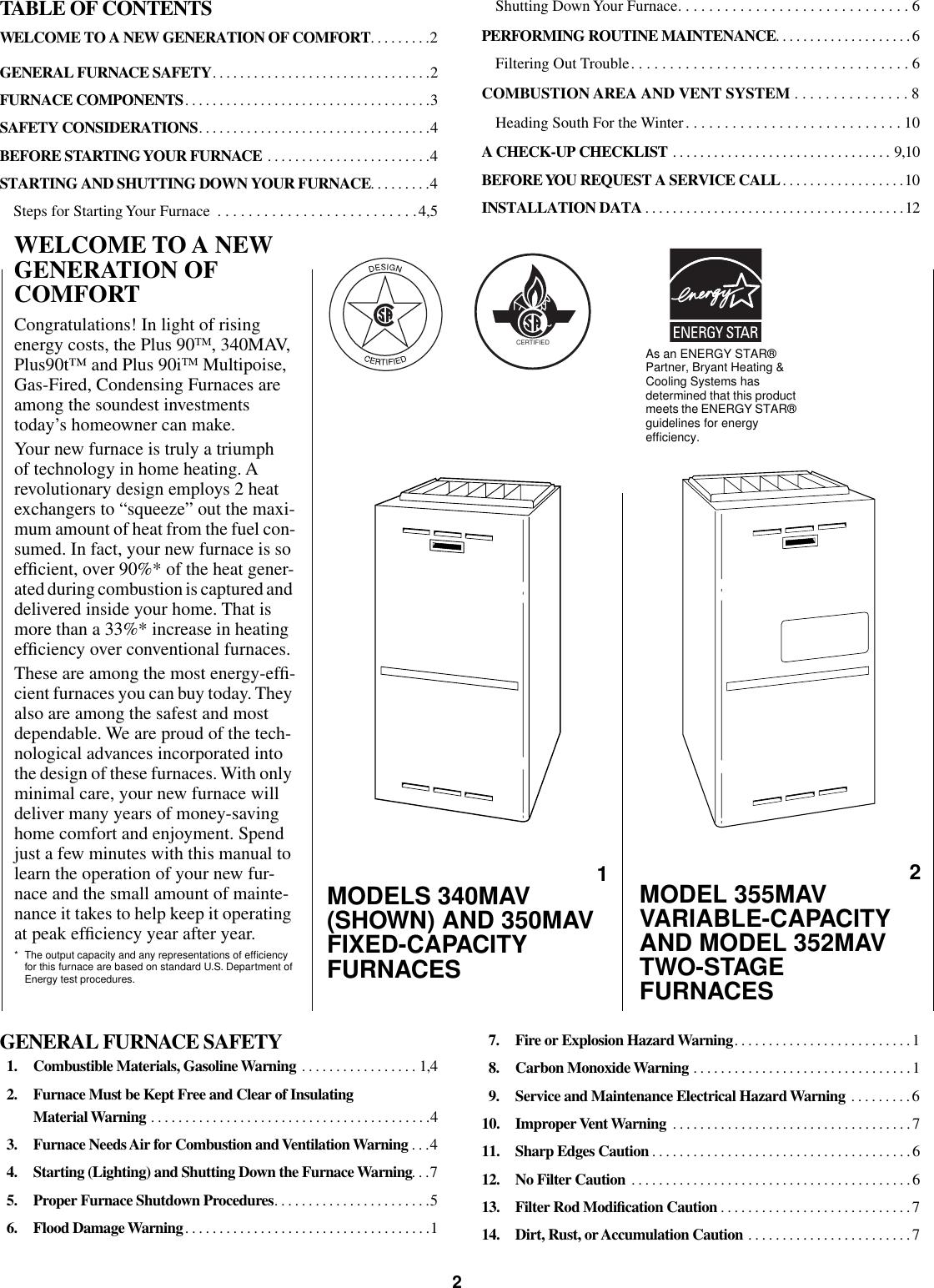 Bryant 340Mav Users Manual OM05 45K