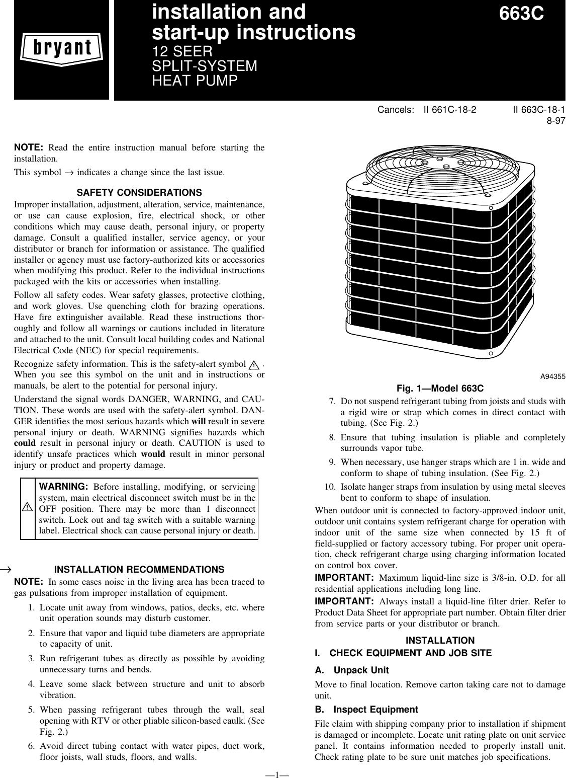 bryant 663c users manual rh usermanual wiki Bryant Heat Pump Wiring Diagram 265 Bryant Heat Pump Models