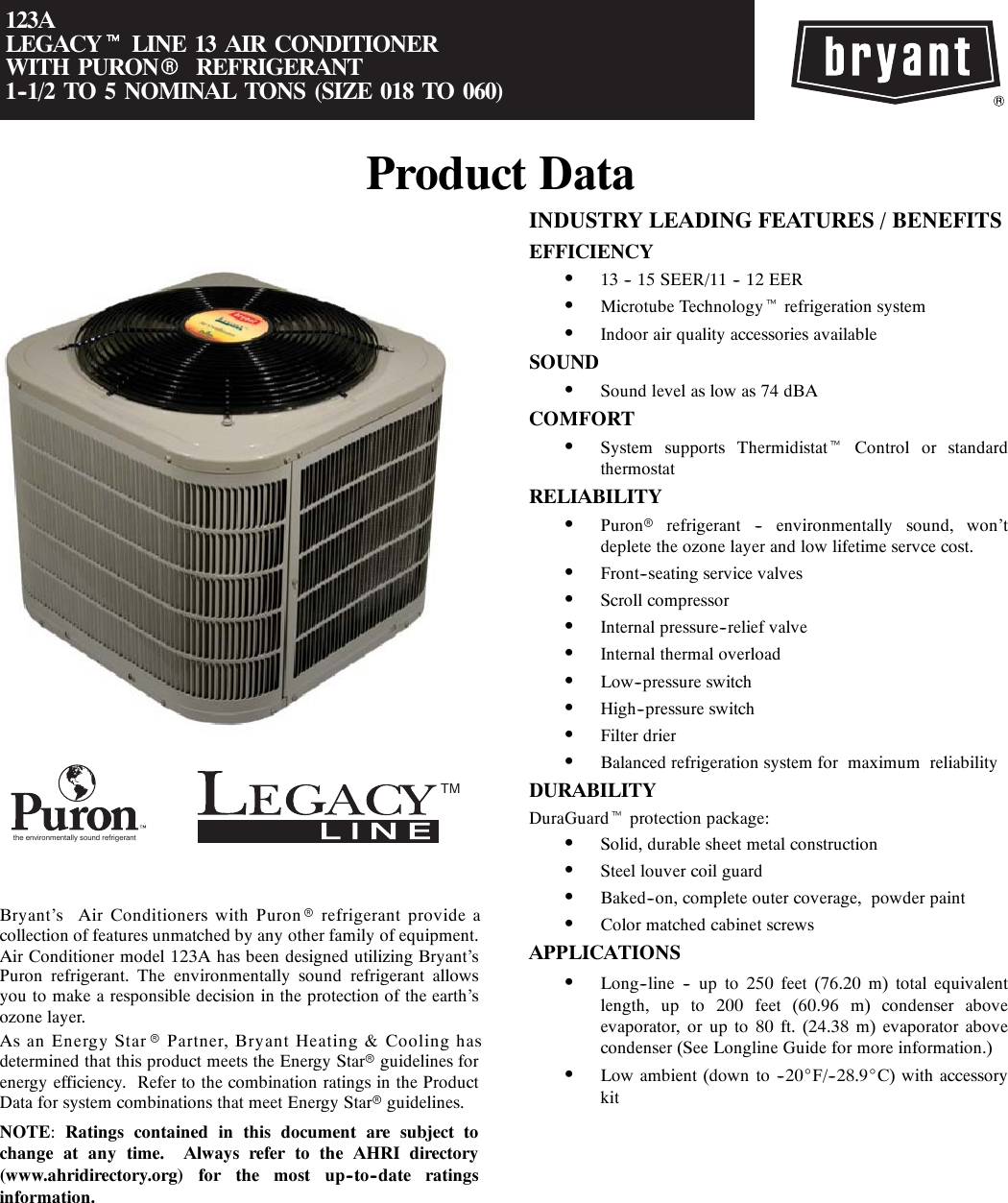 Bryant Air Conditioner 123A Users Manual PDS123A 04