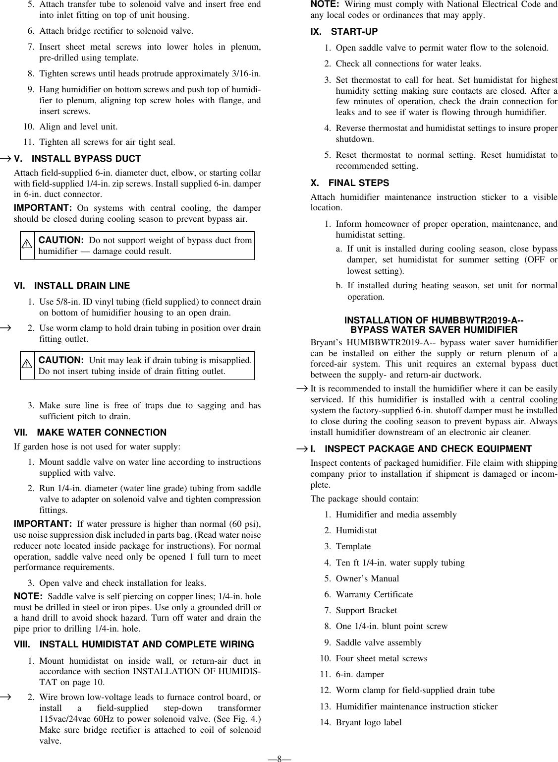Bryant Hum 56 1 Users Manual