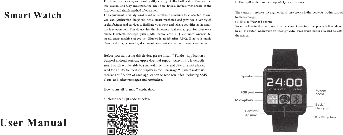 Bub Promotions U8 Smart Watch User Manual