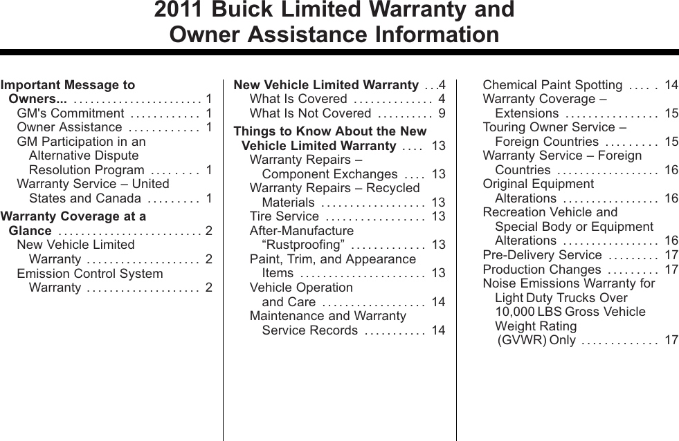 Buick 2011 Regal Warranty Guide
