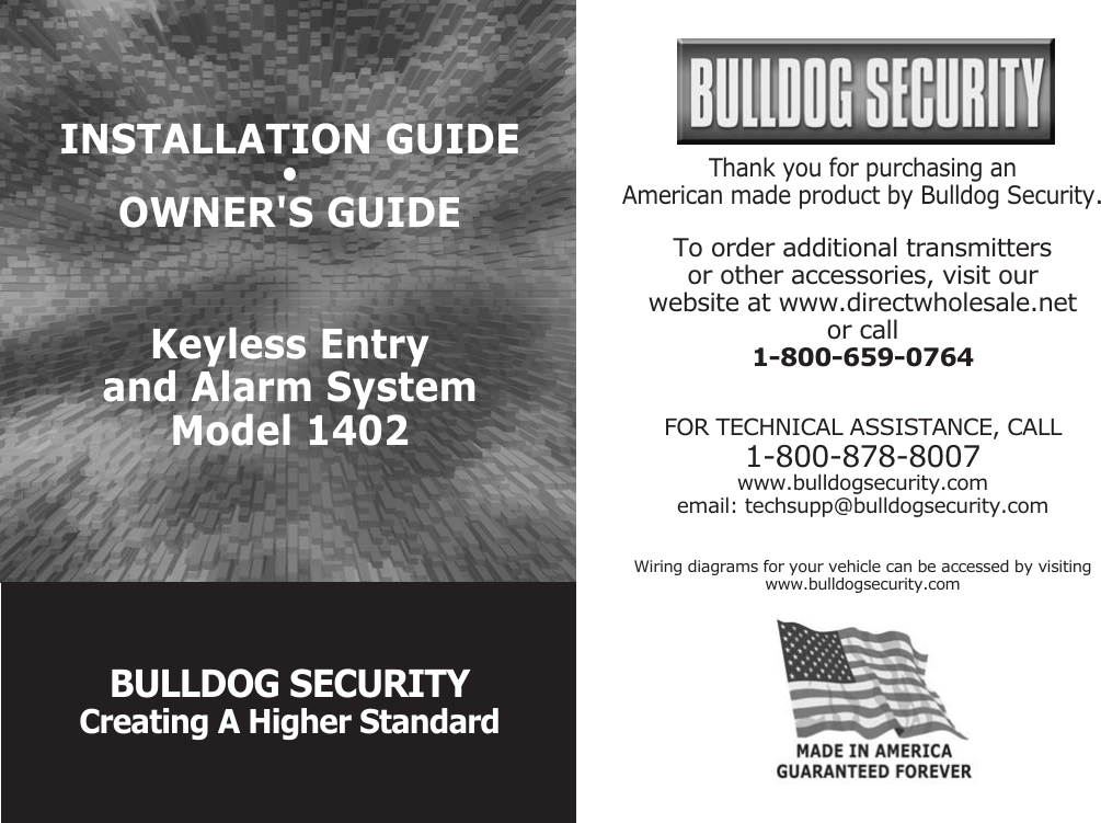 bulldog keyless entry system wiring diagram bulldog security 1402 users manual  bulldog security 1402 users manual