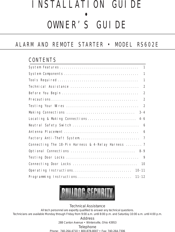 Bulldog Security Rs602e Users Manual Keyless Wiring Diagrams