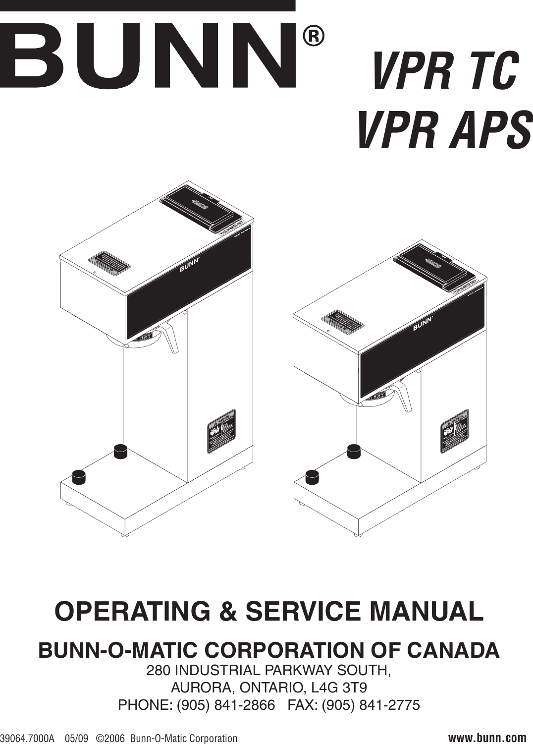 Bunn 1 Gpr 5 75 Gprcanada Owner S Manual Operating Service Vpr Tc Wiring Diagram Page Of 12