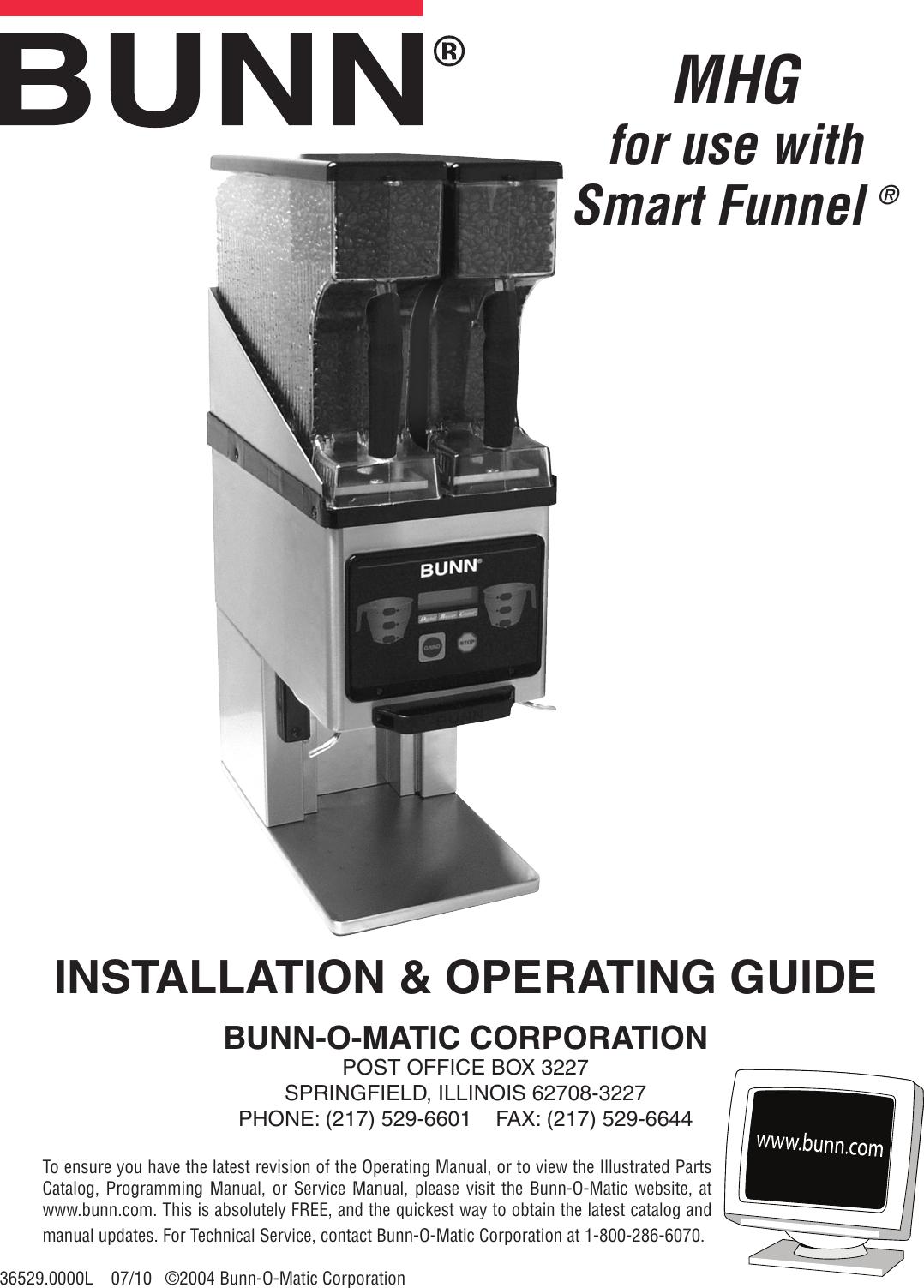 Bunn Mhg Owner S Manual Operating Parts Catalog Wiring Diagram