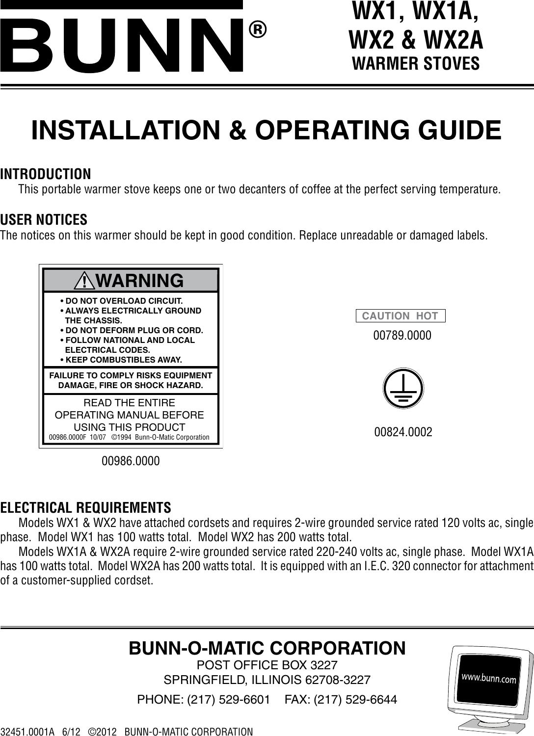 Bunn Wx1 Wx2 Owner S Manual Installation Operating Wx1a Model Bx Wiring Diagram Wx2a Warmer Stoves Guide