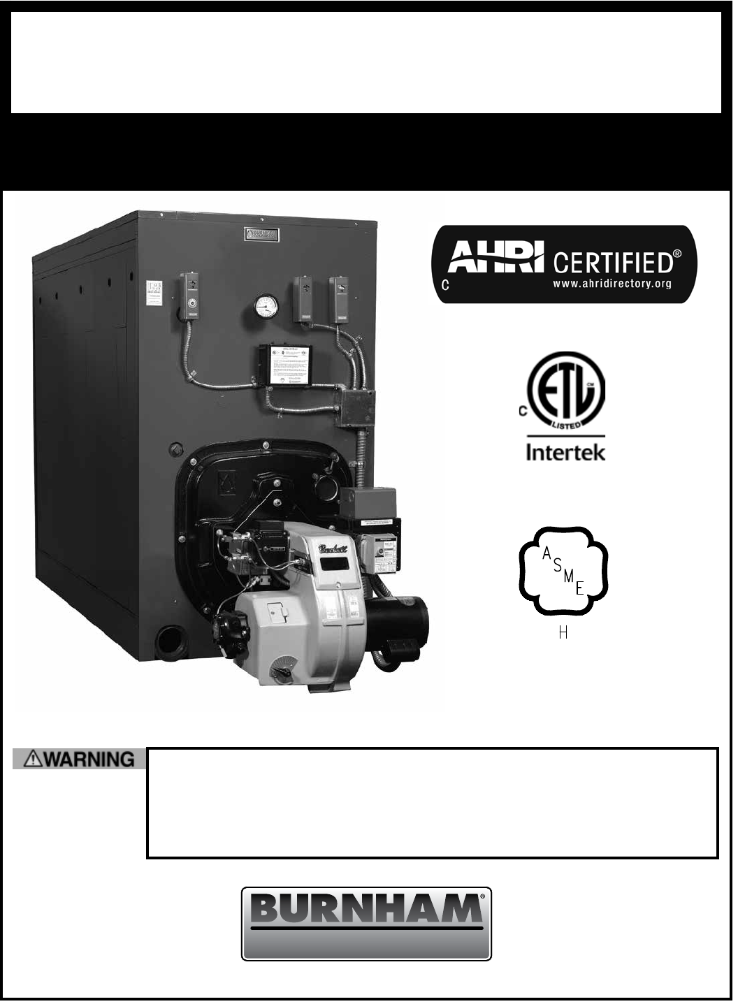 Burnham V9A Boiler Installation And Operation Manual