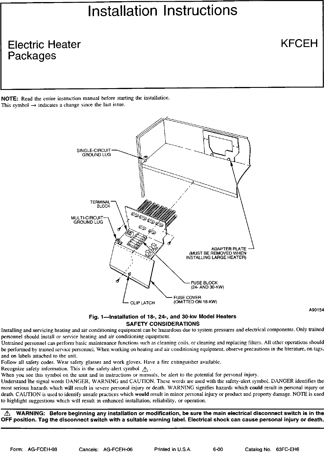 Carrier Air Handler Auxiliary Heater Kit Manual L0210329 Electric Furnace Wiring Diagrams Together With Page 1 Of 12