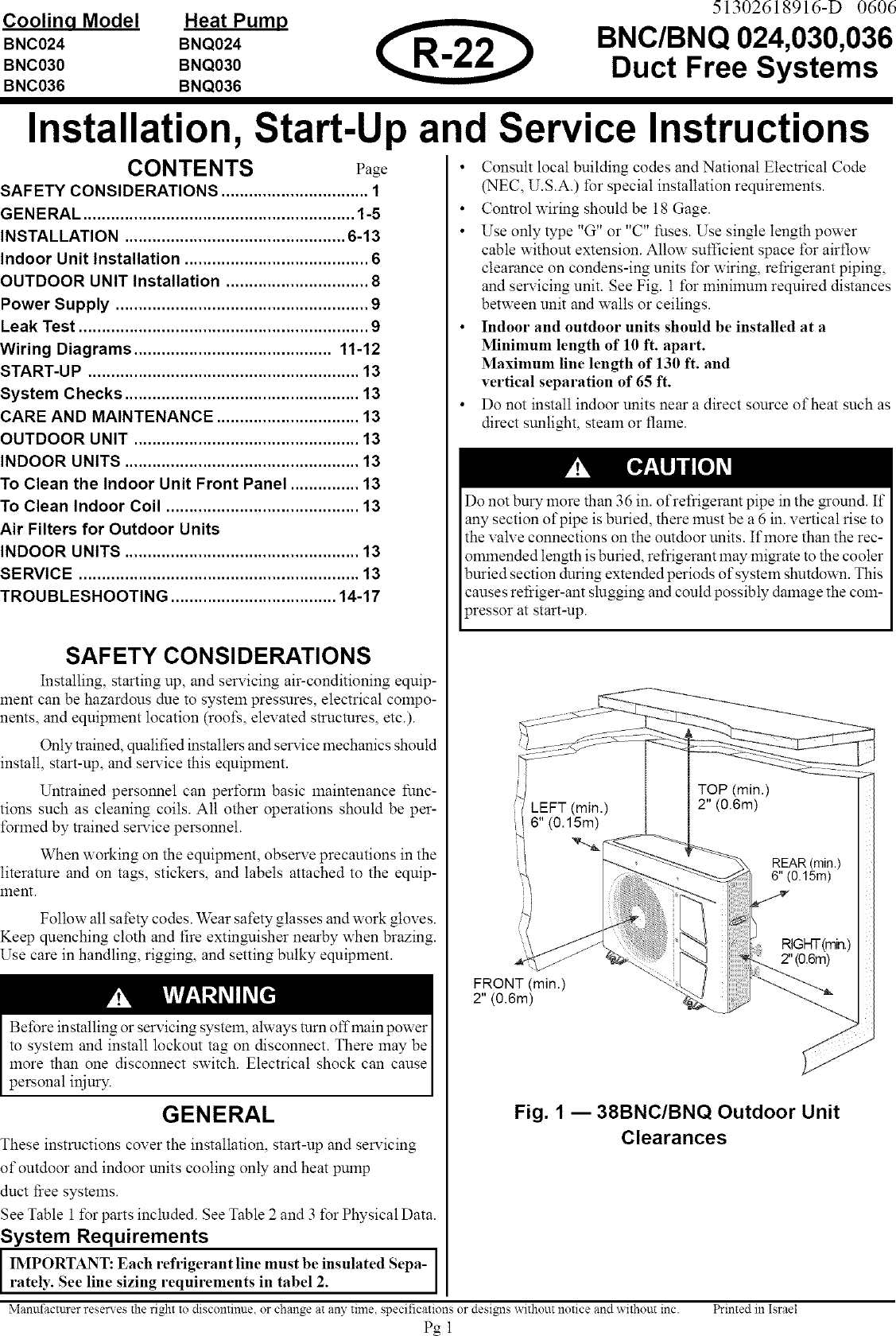 Carrier Air Conditioner Heat Pumpoutside Unit Manual L0611352 Wiring Diagram Of Refrigeration System
