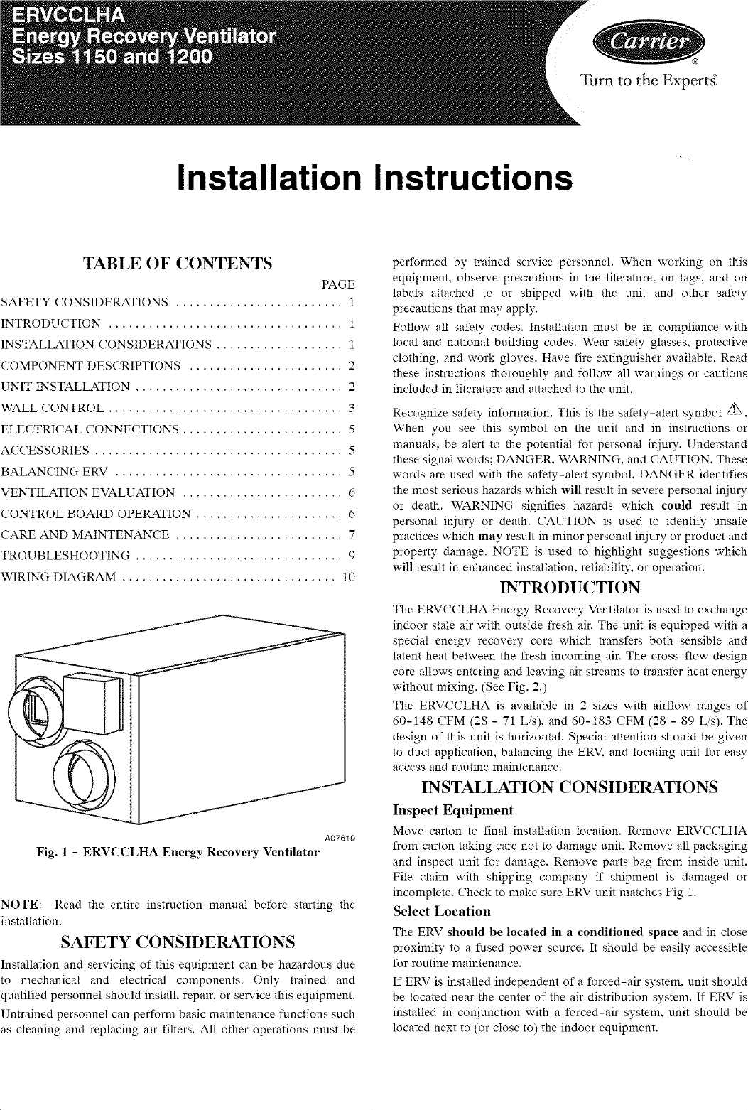 CARRIER Ventilator Manual L0712310