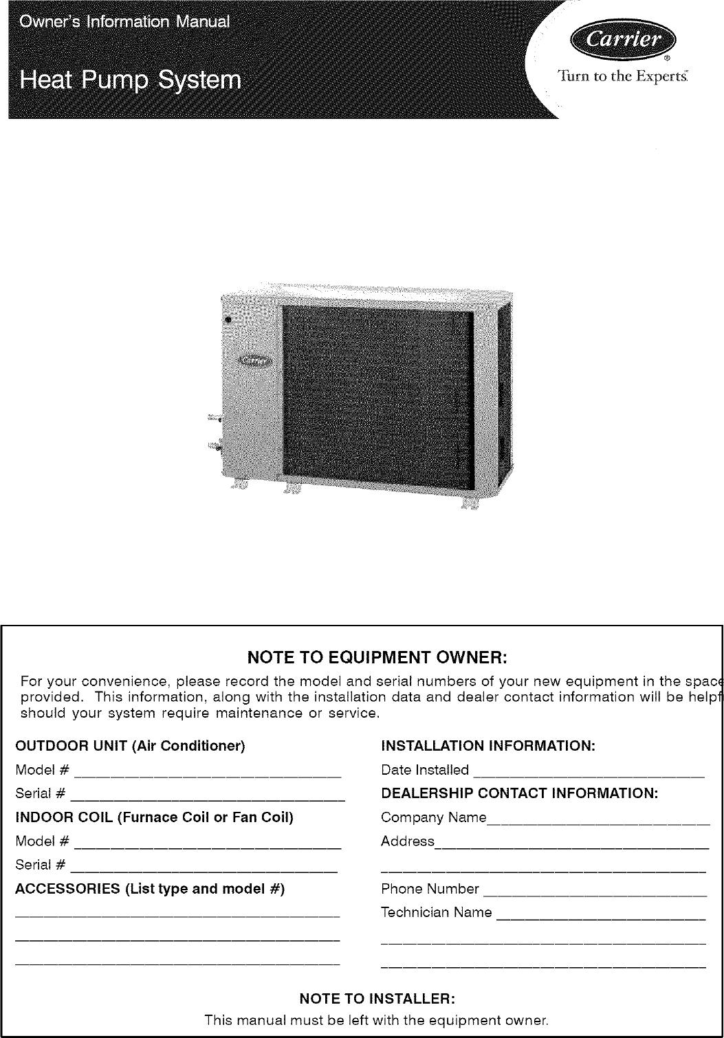 CARRIER Air Conditioner/heat Pump(outside Unit) Manual L0801126