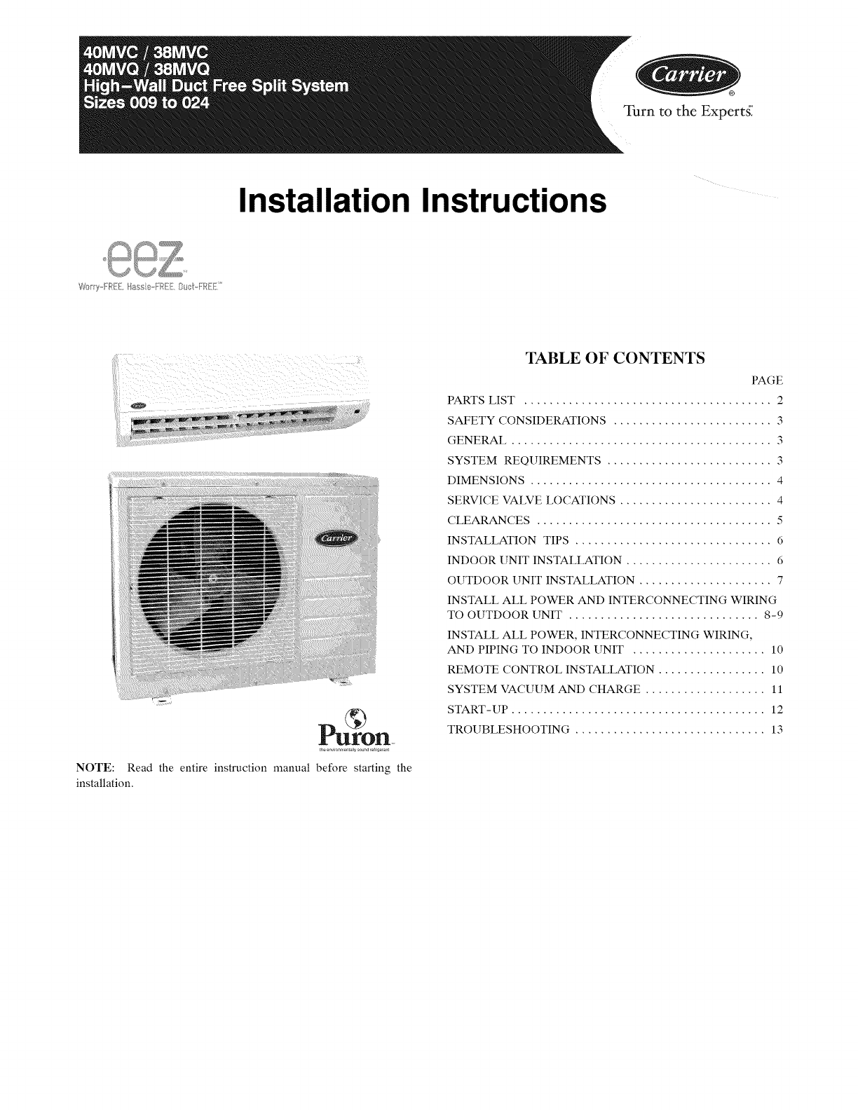 CARRIER Air Handler (indoor Blower&evap) Manual L0904251