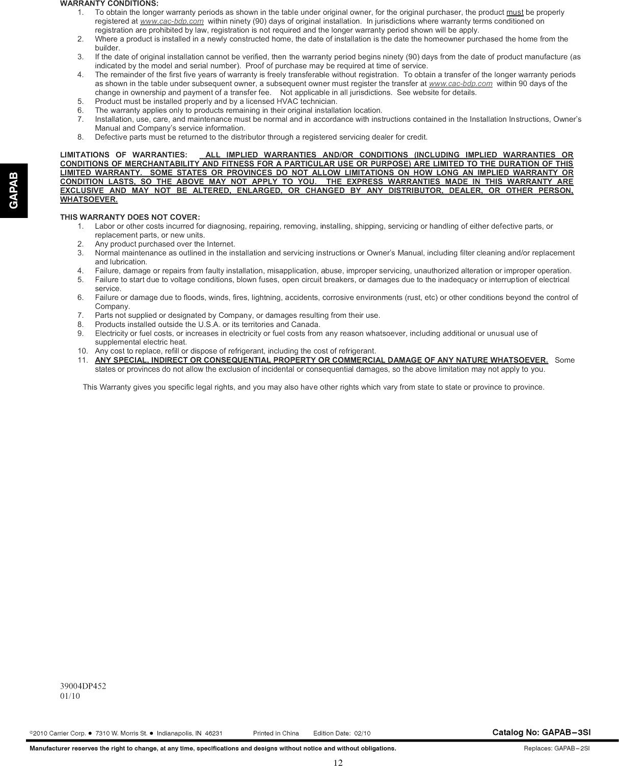CARRIER Air Cleaner Manual L1003417