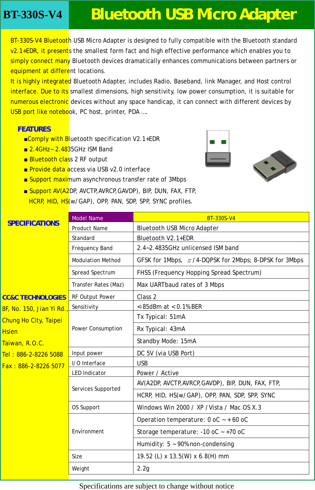 Cc And C Technologies Bt330sv4 Bluetooth Usb Micro Adapter User Manual 1 Transfer Rate