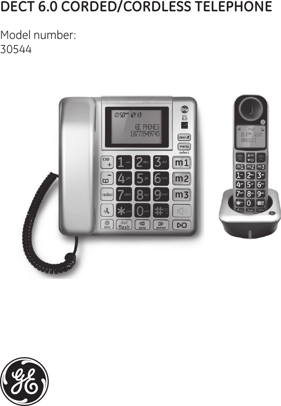 Amazon. Com: ge dect 6. 0 black corded base phone with caller id.