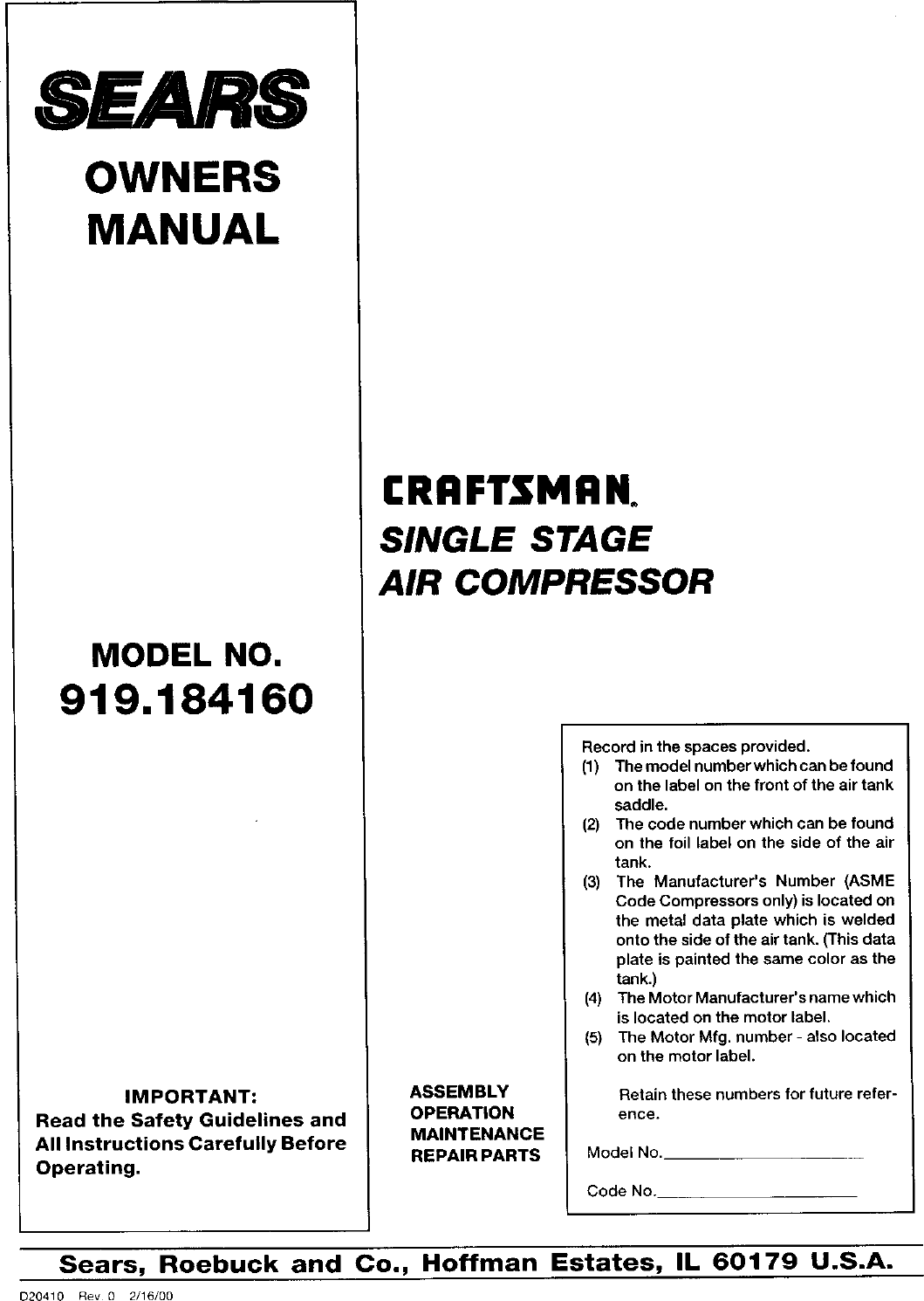 Craftsman Air Compressor Manual L0050106 Wiring Schematics Ssv Works