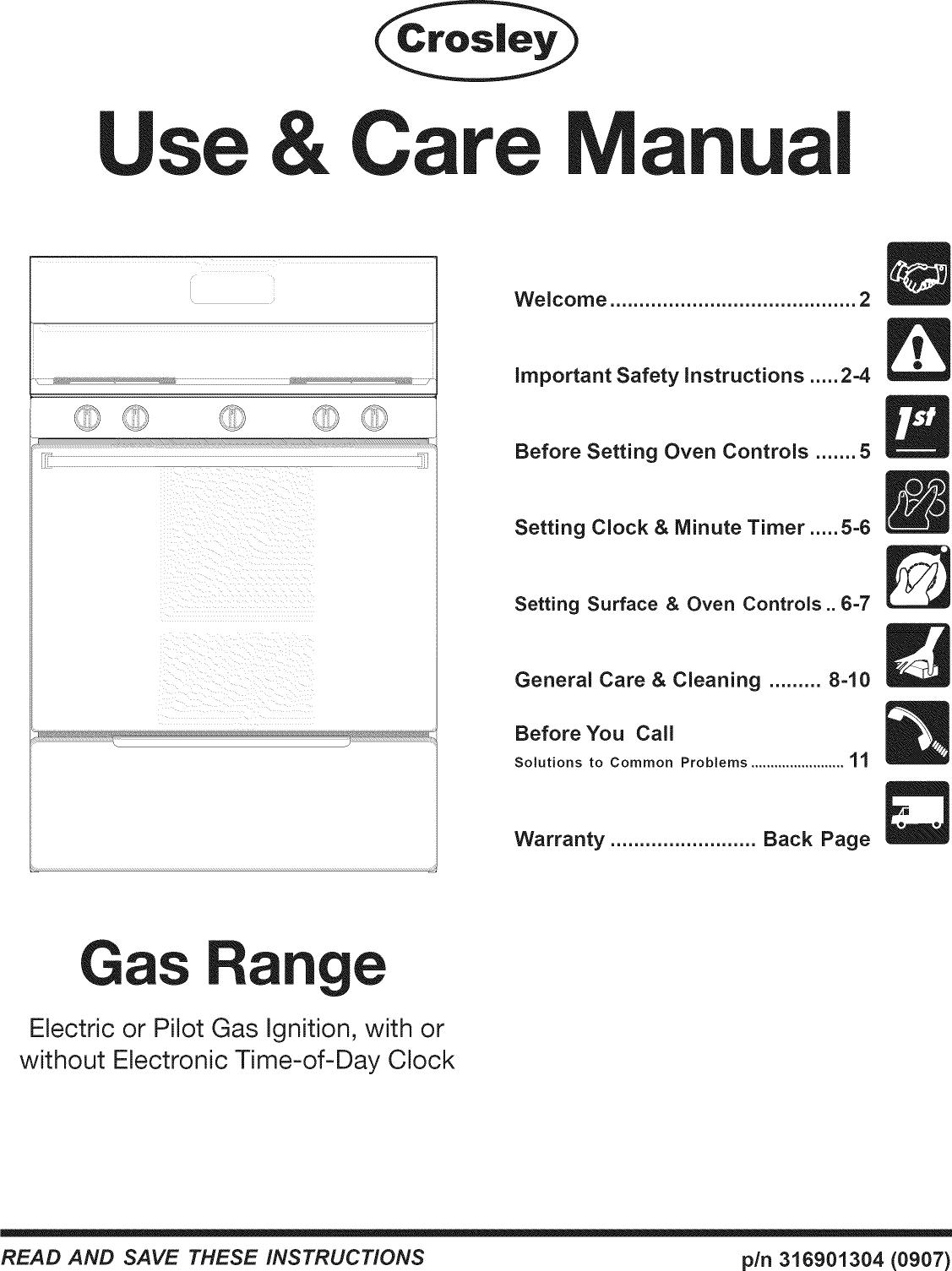 CROSLEY Free Standing, Gas Manual L0911496