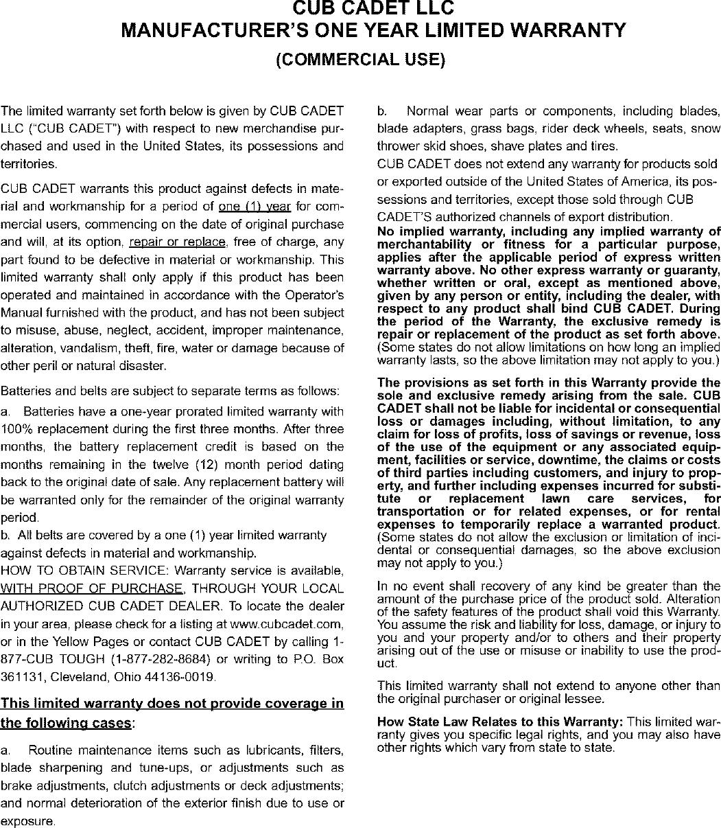 CUB CADET Lawn, Tractor Manual L0403366