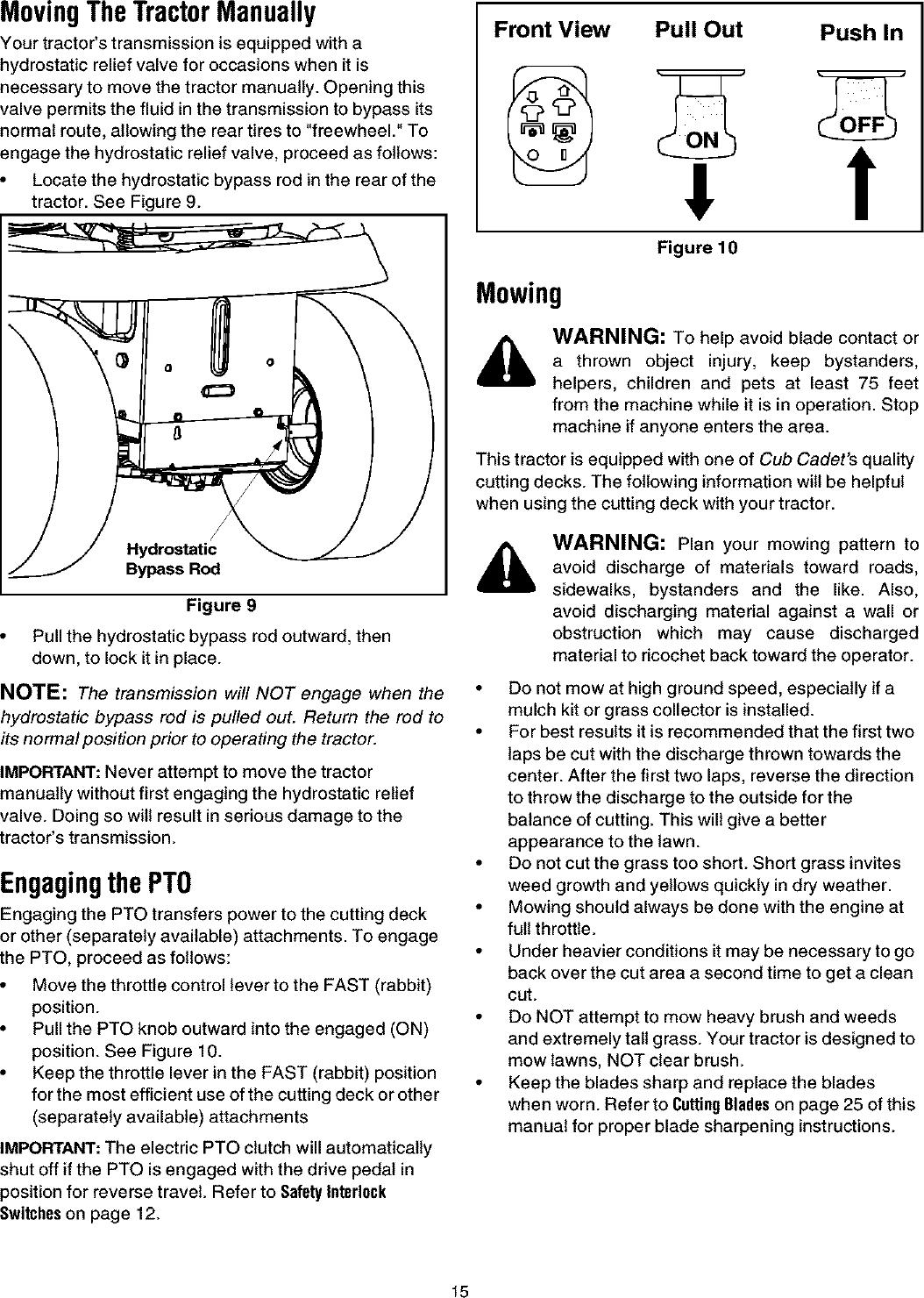 CUB CADET Lawn, Tractor Manual L0403367