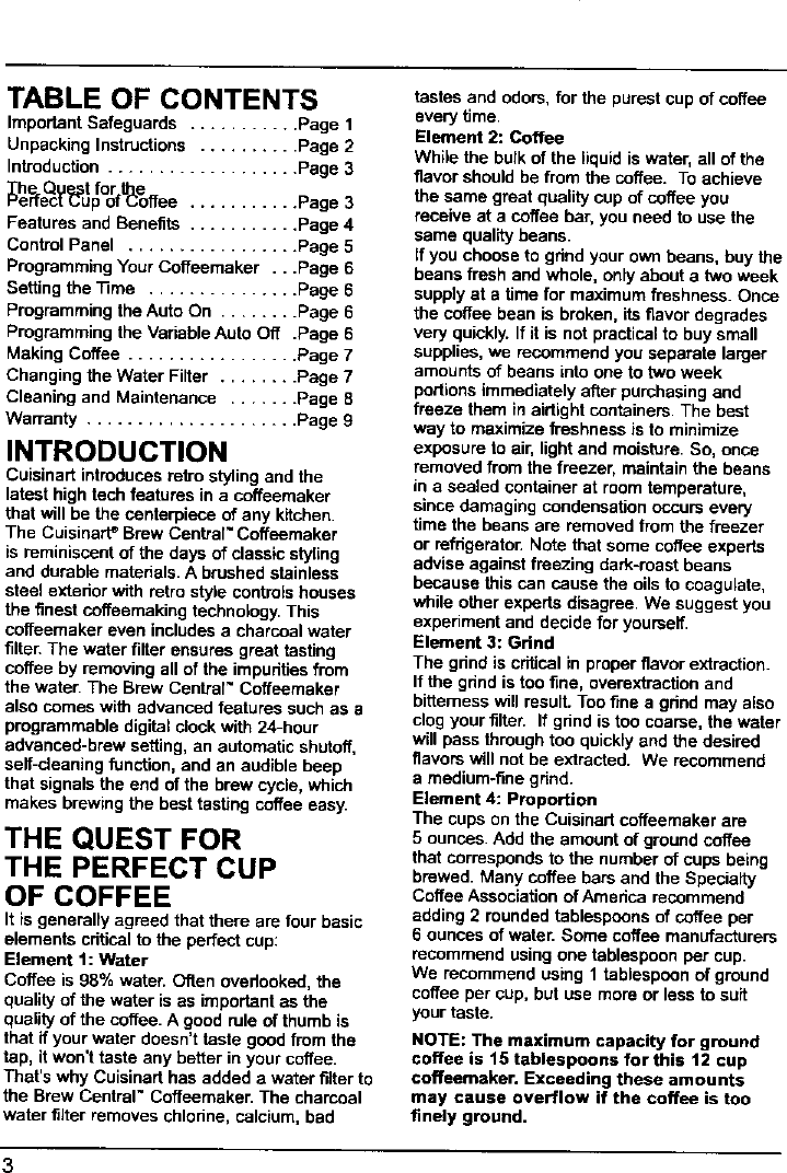 CUISINART Coffee/Tea Maker Manual L0701001