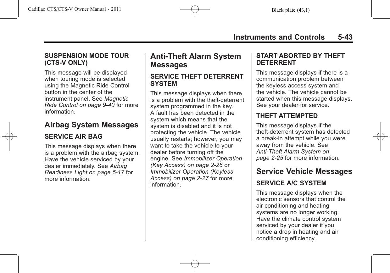 Cadillac 2011 Cts V Sedan Owners Manual Owner's
