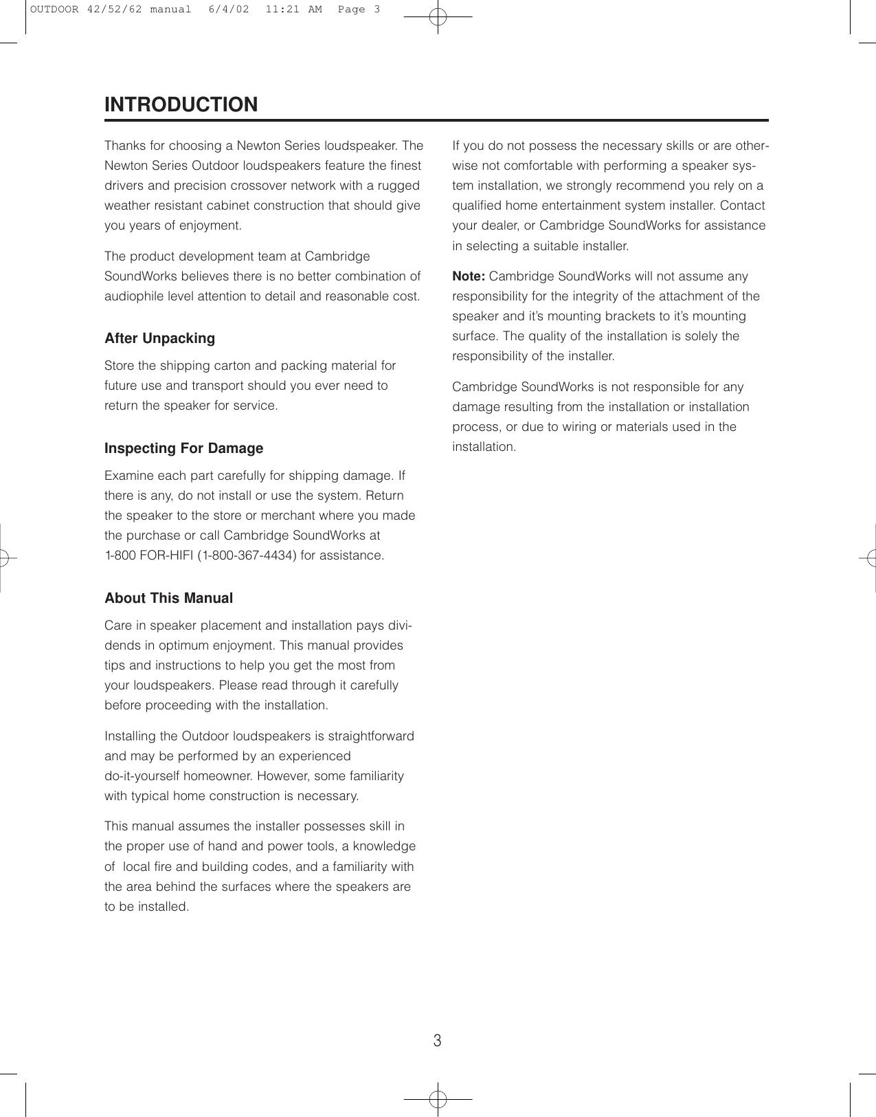 Cambridge Soundworks Speaker Users Manual